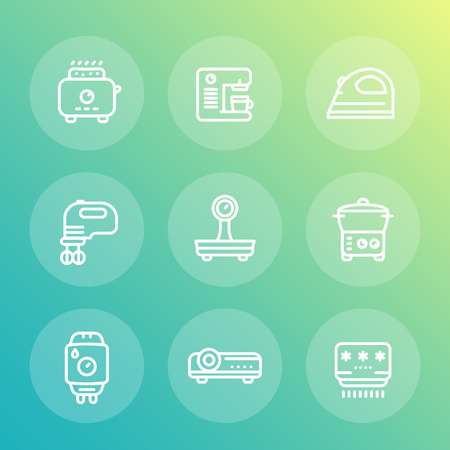 consumer electronics: Appliances, consumer electronics line icons set, toaster, coffee machine, blender, iron, steamer, water heater, projector, air conditioner, vector illustration