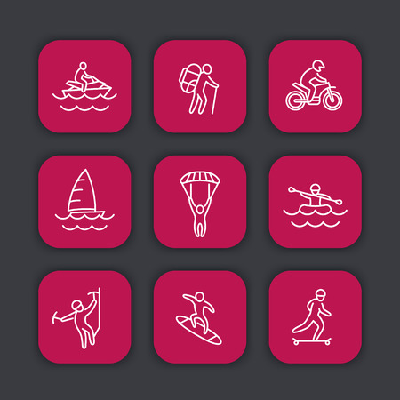 alpinism: extreme outdoor activities line icons set, rafting, skydiving, alpinism, skateboarding, sailing, surfing, hiking, vector illustration