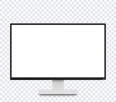 ベクトルのモックアップ、広い空白の画面を持つ現代的な現実的な表示を監視します。