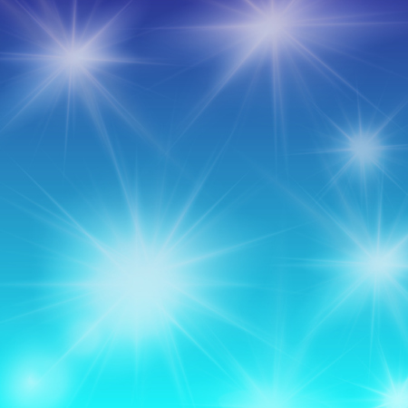 sun flares: Abstract blue background with sun flares, editable elements under clipping mask, vector illustration Illustration