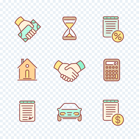 handgrip: Leasing, loan, banking line icons set with color filling