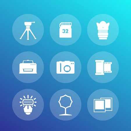 cadre: photo equipment icons set, camera, tripod, memory card, film, lens, softbox, printer, vector illustration