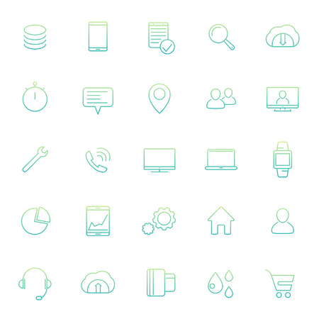 laptop repair: 25 business, commerce, finance line icons with gradient isolated on white, vector illustration