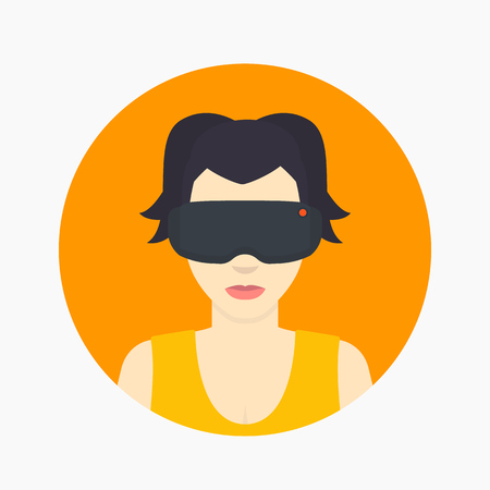 VR headset, cartoon girl in virtual reality glasses flat icon isolated on white