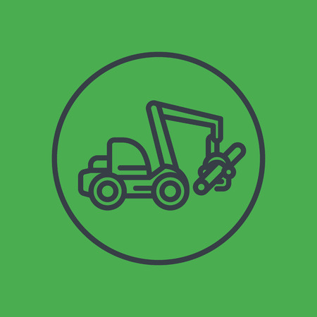wheeled: Forest harvester line icon in circle, wheeled feller buncher, timber harvesting machine Illustration