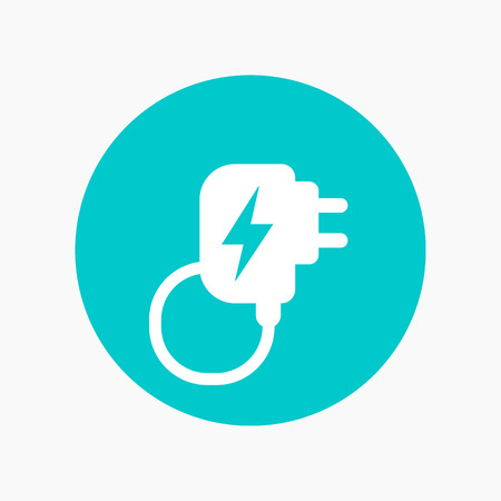 Mobile charger icon, round pictogram