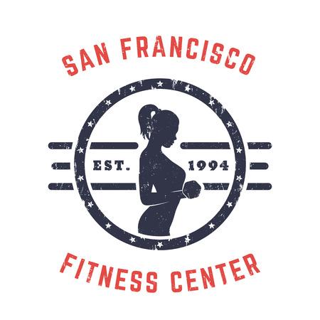 bicep curls: Round Vintage emblem,  gym t-shirt print with exercising girl