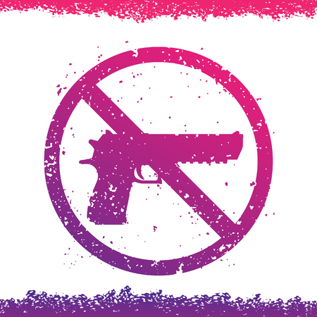 no guns sign with powerful pistol, no firearms Illustration