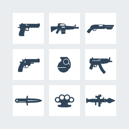 launcher: weapons icons set, pistol, rifle, revolver, shotgun, grenade, knife, rocket launcher isolated on white Illustration