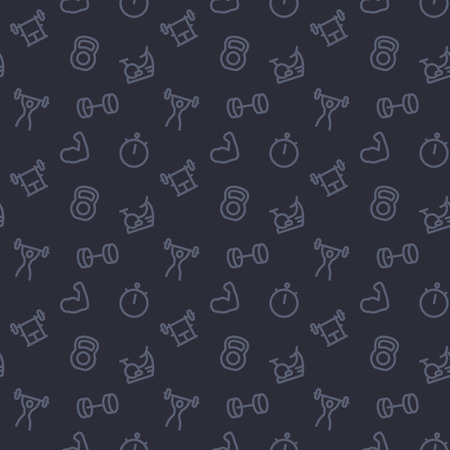fitness, gym pattern, dark seamless background with line icons
