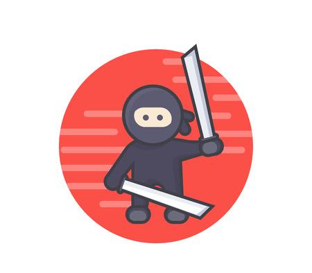 katana: ninja with katana swords in hands, ancient japan warrior, flat style with outline