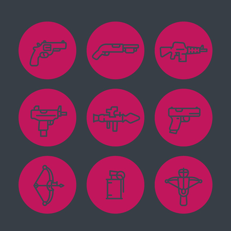 crossbow: weapons line icons set, rocket launcher, pistol, submachine gun, assault rifle, revolver, shotgun, grenade, crossbow, illustration Illustration