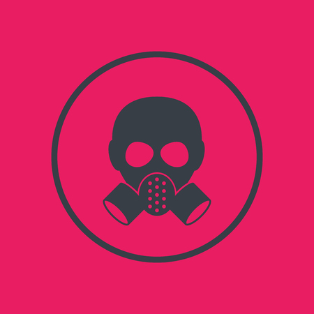 toxicant: gas mask, respirator icon in circle