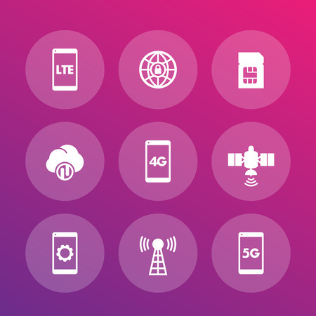 mobile communications: wireless technology icons, lte, communications, 4g, 5g mobile network