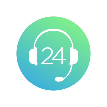 shop assistant: headphone icon, 24 support service round sign