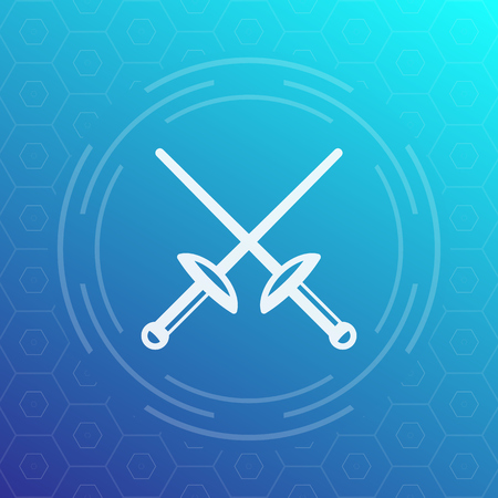 tourney: fencing icon with crossed swords, foils, illustration