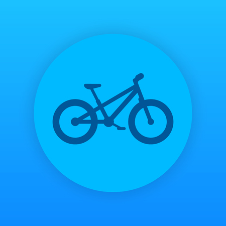 snow tires: Fat bike icon, round blue pictogram