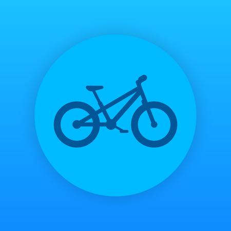 Fat bike icon, round blue pictogram