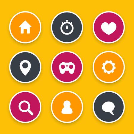 Basis web icons set, instellingen, login, home, zoeken, favoriet, contacteer ons, profiel, gebruikers, chat, bericht Stock Illustratie