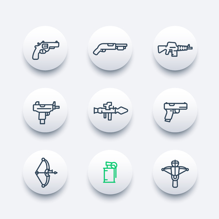 crossbow: weapons line icons set, revolver, rocket launcher, pistol, submachine gun, assault rifle, shotgun, compound bow, grenade, crossbow Illustration