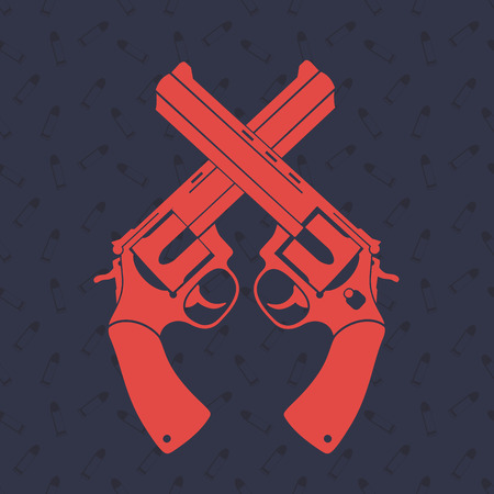 gunman: crossed revolvers over dark background with pattern, illustration Illustration