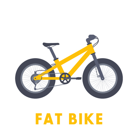 snow tires: Fat bike in flat style isolated over white