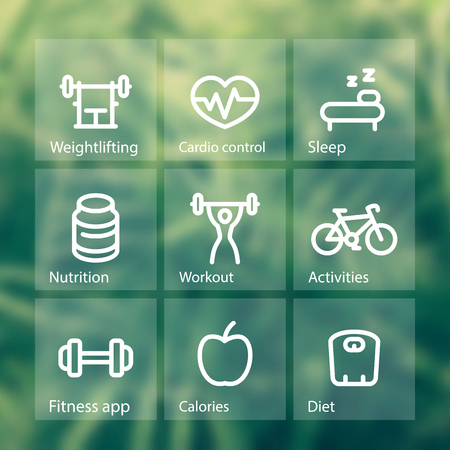 strength training: Fitness thick line icons set, fit and active lifestyle, strength training, workout, pictograms on transparent squares shapes