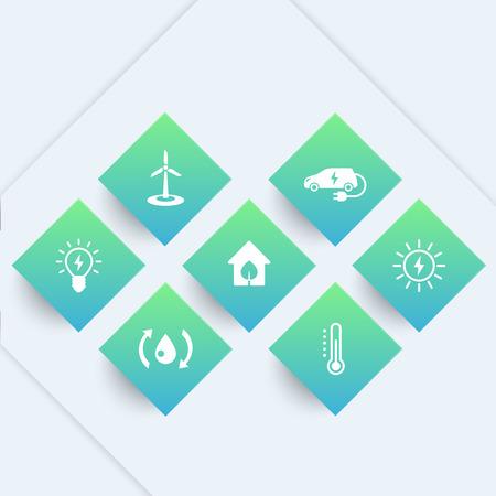 ecologic: Green ecologic house icons, modern, ecofriendly, energy saving technologies, pictograms on geometric shapes