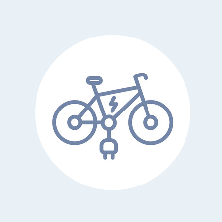 simplified: Electric bike line icon isolated on white, illustration