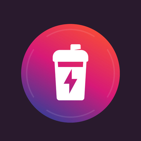 Sport shaker icon, nutrition for gym training, trendy pictogram