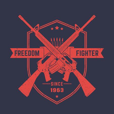 Freedom fighter, vintage t-shirt print, emblem with assault rifles, illustration