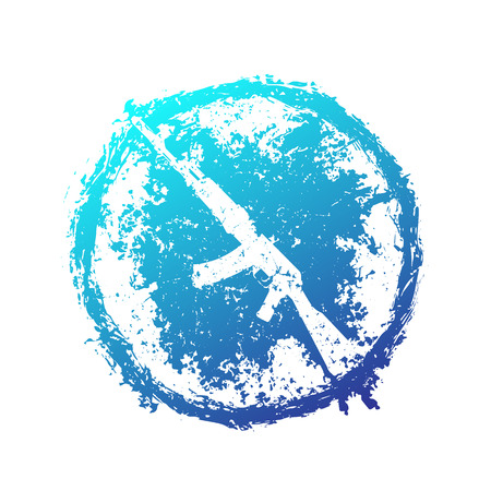 grunge emblem with assault rifle, automatic gun, blue on white, illustration