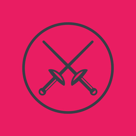 tourney: fencing icon in circle, crossed swords,  illustration