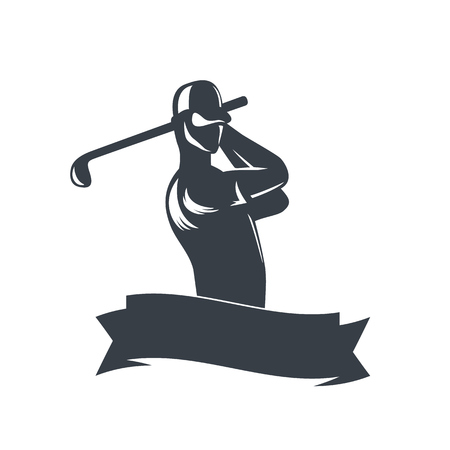 swinging: golf template on white with golf player swinging club, illustration