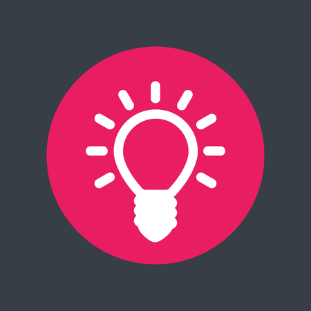 shining light: Shining light bulb icon, round pictogram, illustration