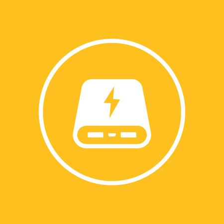 portative: power bank icon in circle,  illustration