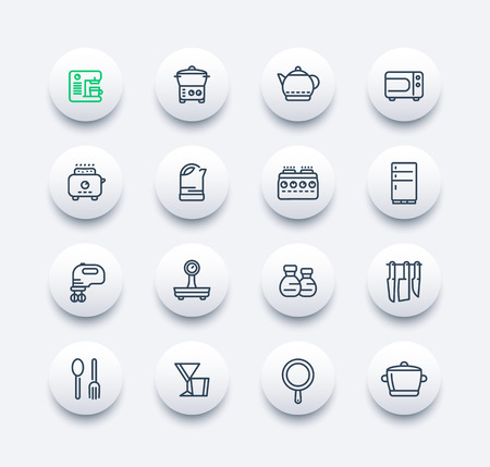 cookware: kitchen line icons set, utensils, tableware, cookware, pan, kettle, knives, cooking tools