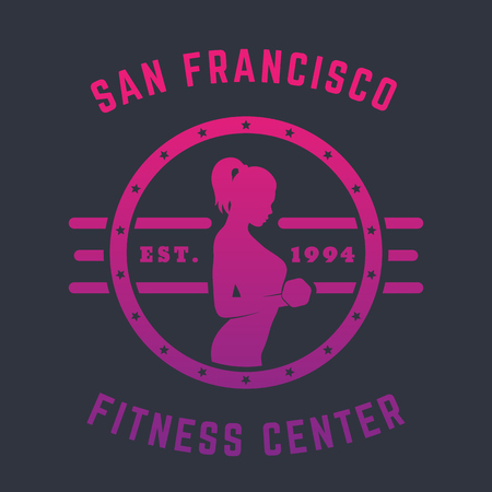 bicep curls: Round Vintage emblem, with exercising girl doing bicep curls with dumbbells, illustration