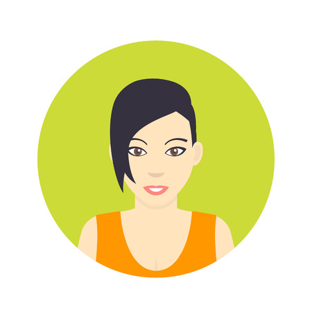 Avatar icon, girl with short haircut in flat style on white