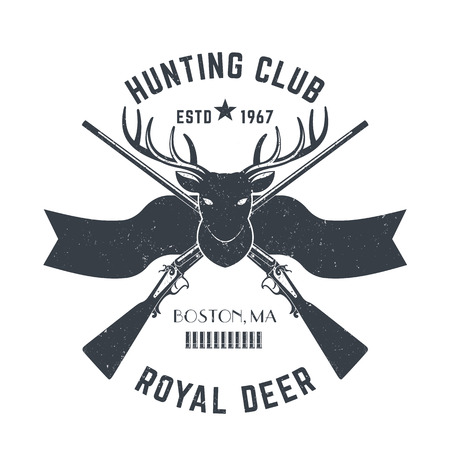 Hunting , vintage emblem with deer head and two hunting rifles, gray on white, illustration Illustration