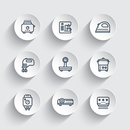 consumer electronics: Appliances, consumer electronics line icons set, toaster, coffee machine, blender, iron, steamer, home boiler, projector, air conditioner, illustration