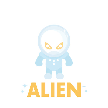 space suit: alien in space suit, icon in flat style on white