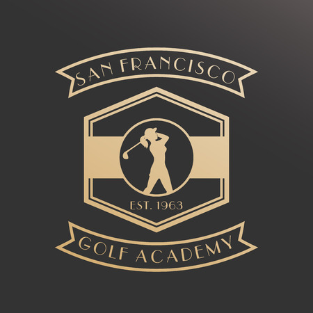 swinging: Golf academy vintage , emblem with girl golfer swinging golf club, gold on dark, illustration