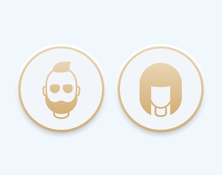 bearded man: Avatars round trendy icons, girl and bearded man, gold login pictograms, illustration