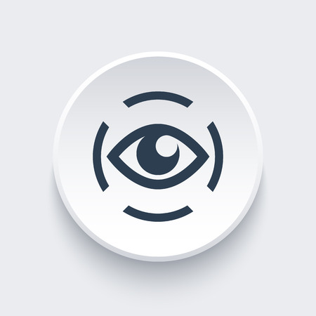 observer: iris scan icon, eye scanner, biometric recognition Illustration