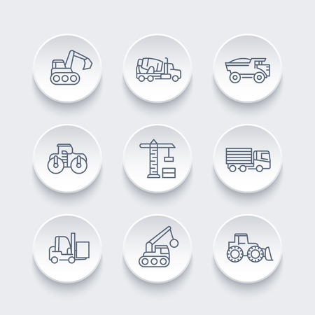 digger: construction vehicles line icons set, heavy machine, engineering equipment, digger, trucks, excavator, loader, crane