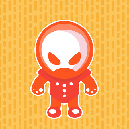 alien in space suit, sticker in flat style Illustration