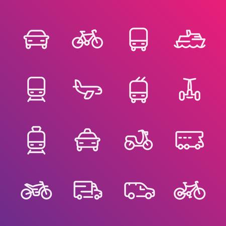tramcar: Transport line icons set, car, ship, train, airplane, van, bike, motorbike, bus, taxi, trolleybus, subway, public transportation, air Illustration