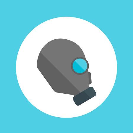 toxicant: gas mask, respirator flat round icon
