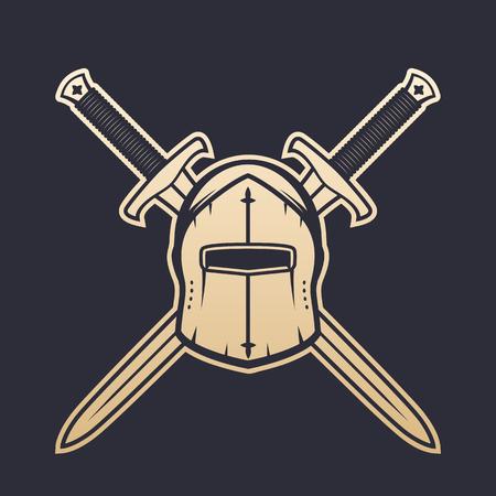medieval helmet and crossed swords, heraldic logo elements, gold on dark